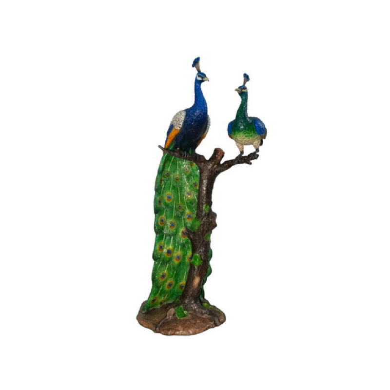 SRB047316 Bronze Colorful Peacock & Peachick in Tree Sculpture by Metropolitan Galleries Inc