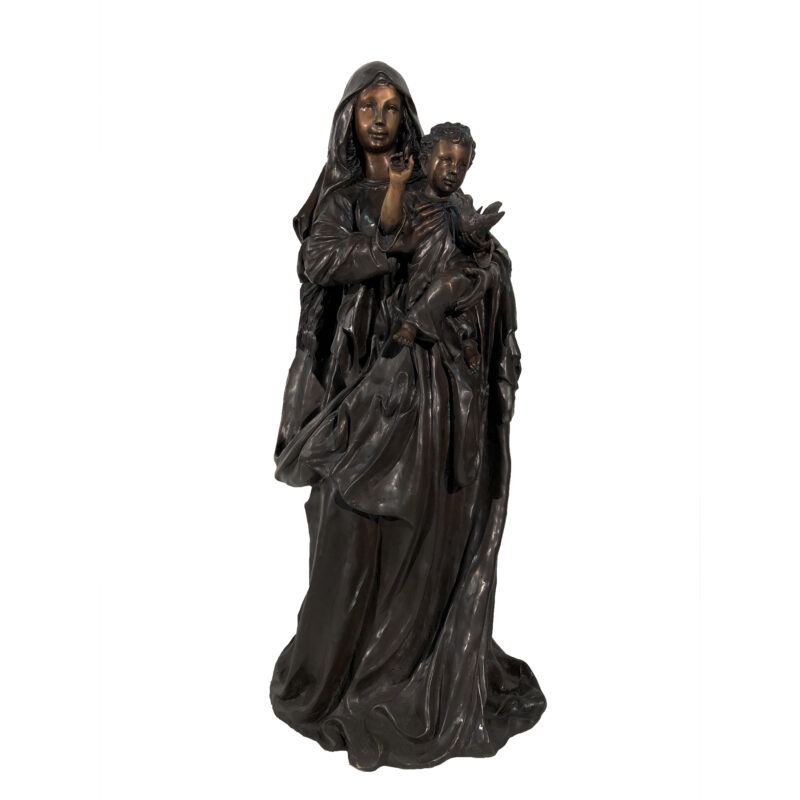 SRB056826 Bronze Madonna with Child Sculpture by Metropolitan Galleries Inc Blessed Mother