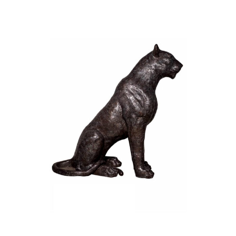 SRB075044 Bronze Sitting Panther Sculpture by Metropolitan Galleries Inc