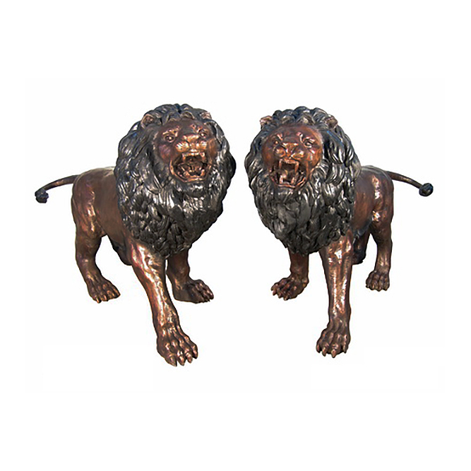 SRB086056L&R Bronze Standing Lions Sculpture Pair by Metropolitan Galleries Inc