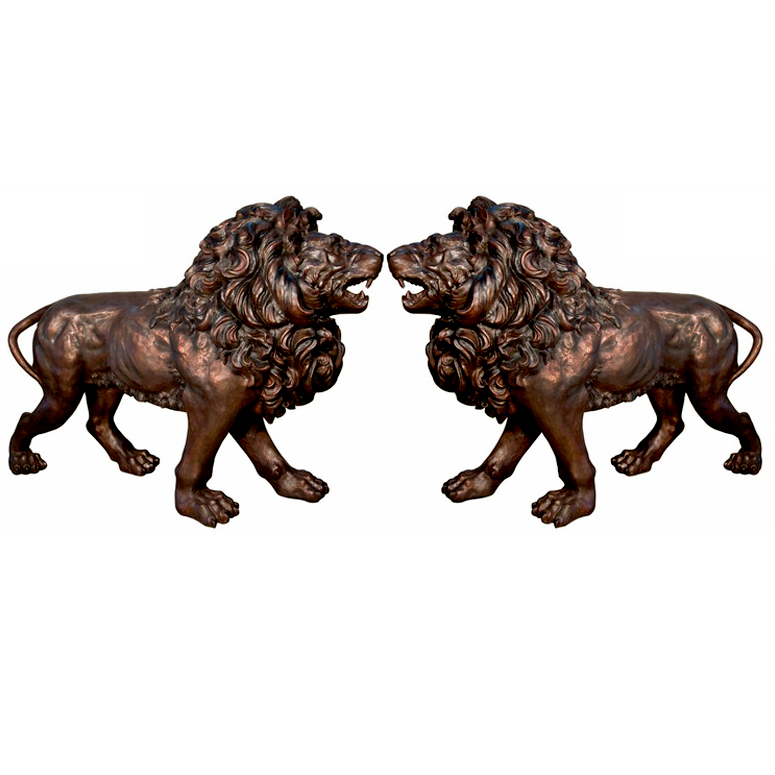 SRB094314-15 Bronze Walking Lions Sculpture Pair by Metropolitan Galleries Inc