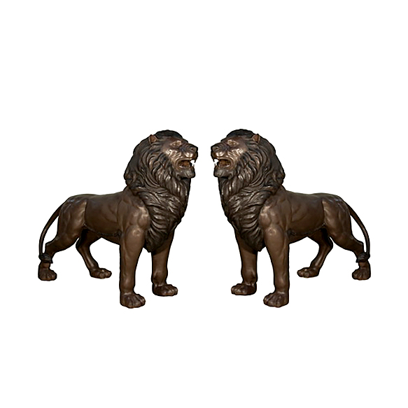 SRB097152-53 Bronze Standing Lions Sculpture Set Mouths Open by Metropolitan Galleries Inc