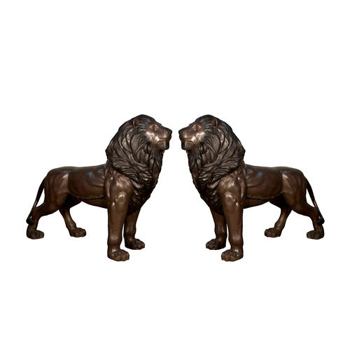 SRB097154-55 Bronze Standing Lions Sculpture Set Mouths Closed by Metropolitan Galleries Inc