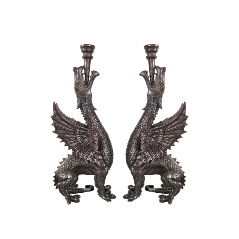 SRB701610 Bronze Dragon Candleholder Sculpture Pair with Brown Patina by Metropolitan Galleries Inc