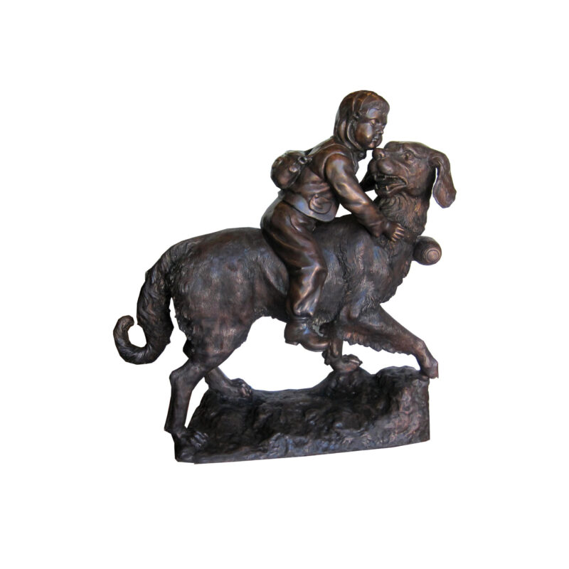 SRB703288 Bronze Girl atop Saint Bernard Dog Sculpture by Metropolitan Galleries Inc