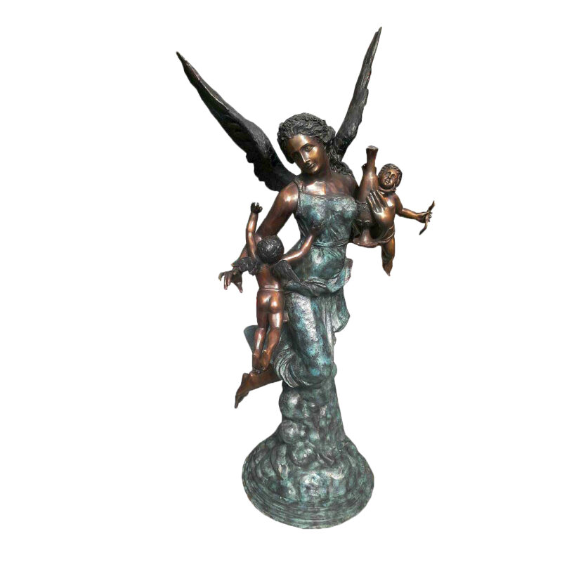 SRB705171 Bronze Angel with Cupids Sculpture by Metropolitan Galleries Inc