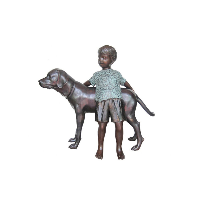 SRB706764 Bronze Boy with Labrador Dog Sculpture by Metropolitan Galleries Inc