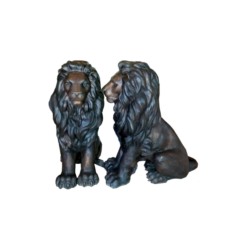 SRB707176 Bronze Sitting Lion Sculpture Pair by Metropolitan Galleries Inc