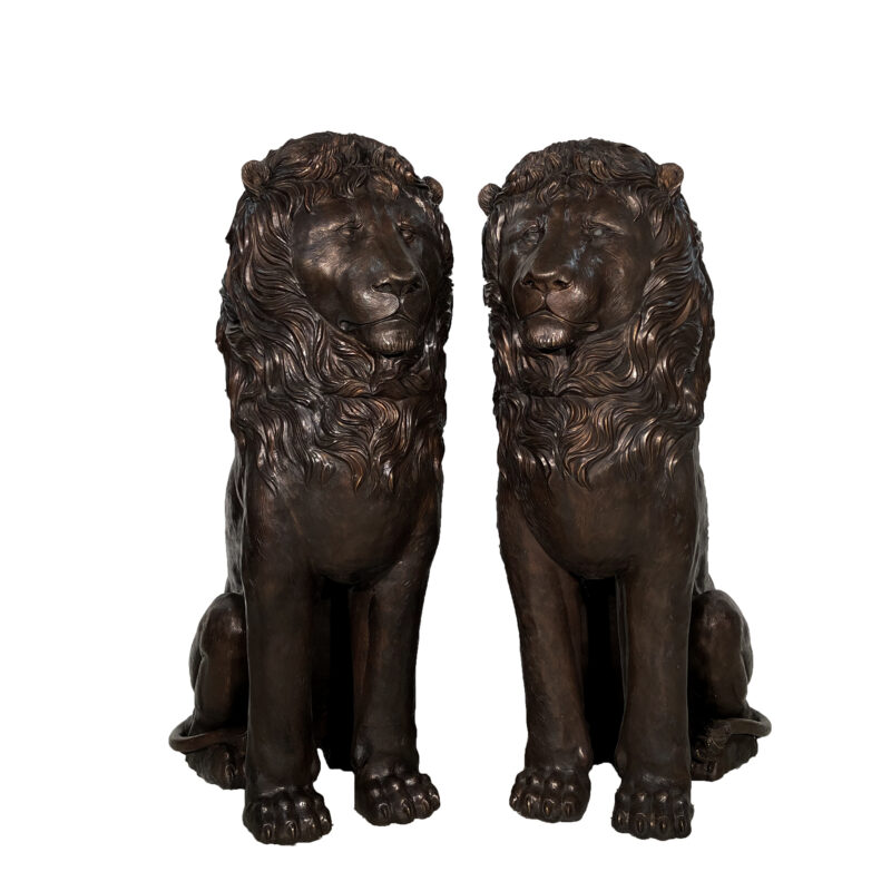 SRB10121 Bronze Six Foot Sitting Lions Sculpture Pair exclusive by Metropolitan Galleries Inc