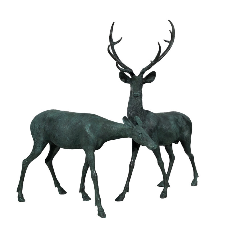 SRB15055-56-VP Bronze Buck & Doe Sculpture Set in Verdigris Patina by Metropolitan Galleries Inc