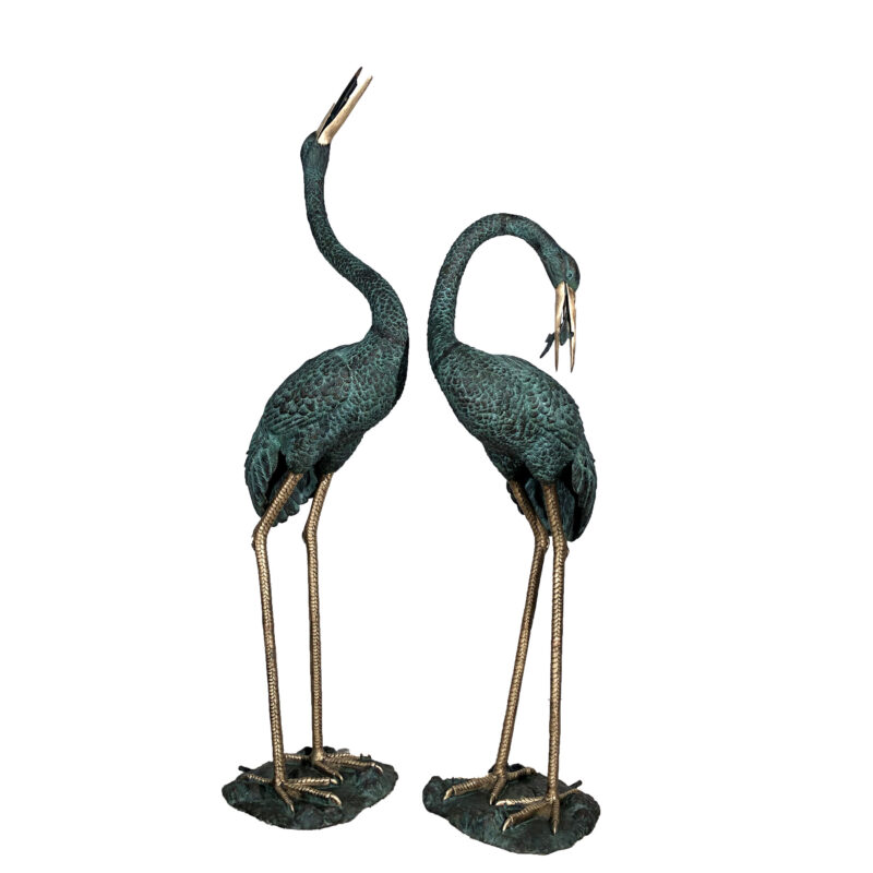 SRB45715-BH Bronze Crane Fountain Sculpture Set in Verdigris Patina with Polished Brass Accents by Metropolitan Galleries Inc