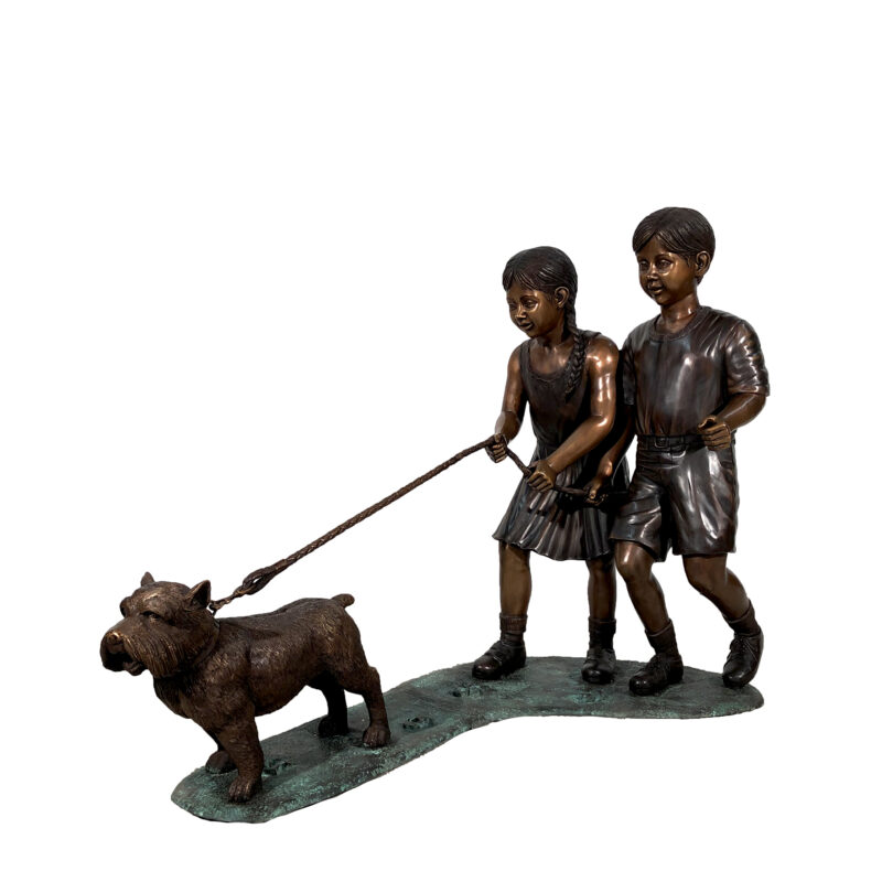 SRB47002 Bronze Boy & Girl walking Terrier Dog Sculpture by Metropolitan Galleries Inc
