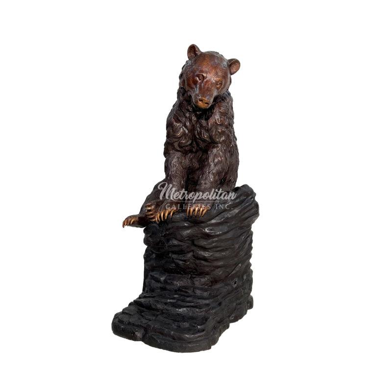 SRB706427 Bronze Bear sitting on Rock Sculpture by Metropolitan Galleries Inc WM