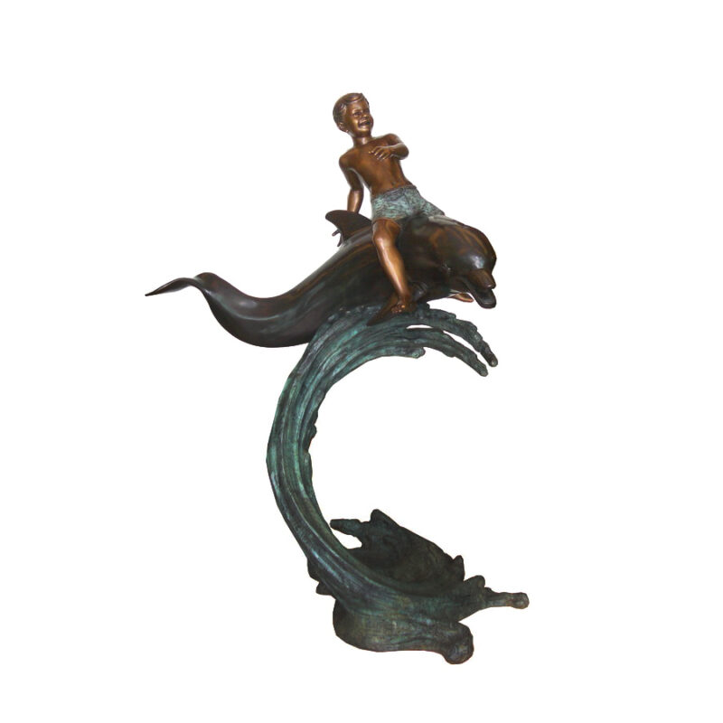 SRB706473 Bronze Boy riding Dolphin on Wave Fountain Sculpture by Metropolitan Galleries Inc