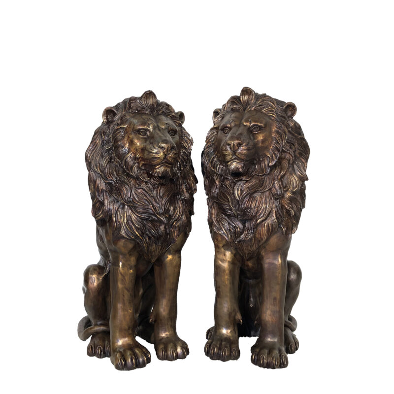 SRB706667 Bronze Sitting Lions Sculpture Pair with Brass Highlights by Metropolitan Galleries Inc