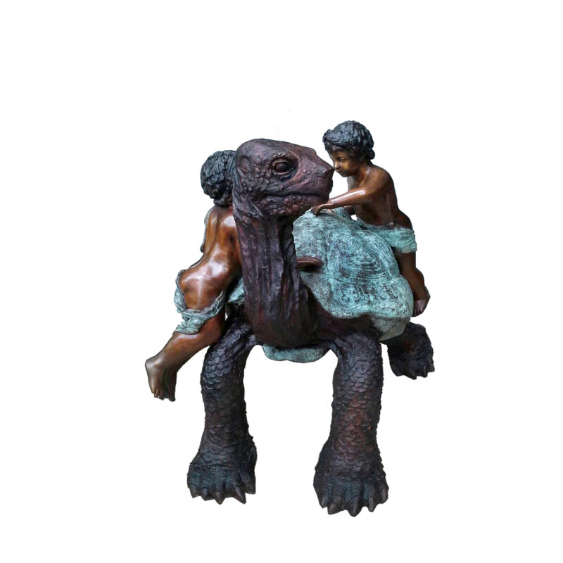 SRB707185 Bronze Two Boys on Turtle Fountain Sculpture by Metropolitan Galleries Inc