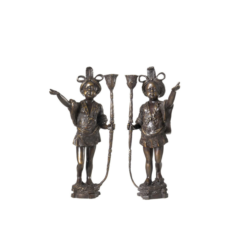 SRB991271-72 Bronze Blackamoor Candle Holder Sculpture Pair by Metropolitan Galleries Inc