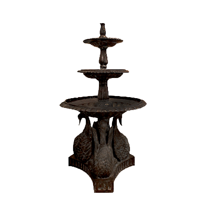 SRB992220 Bronze Three Tier Swans Fountain in Brown Patina by Metropolitan Galleries