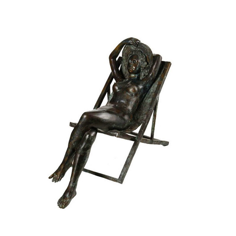 SRB992345 Bronze Nude Lady with Sunhat in Deck Chair Sculpture by Metropolitan Galleries Inc