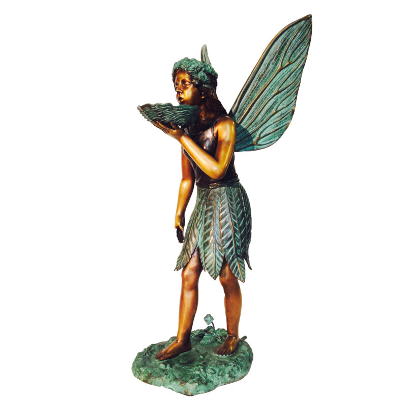 SRB46145 Bronze Fairy holding Shell Fountain Sculpture by Metropolitan Galleries Inc