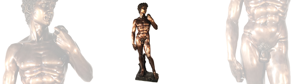 Sculpture of David from Metropolitan Galleries featured in Cast Bronze and Hand Carved Marble