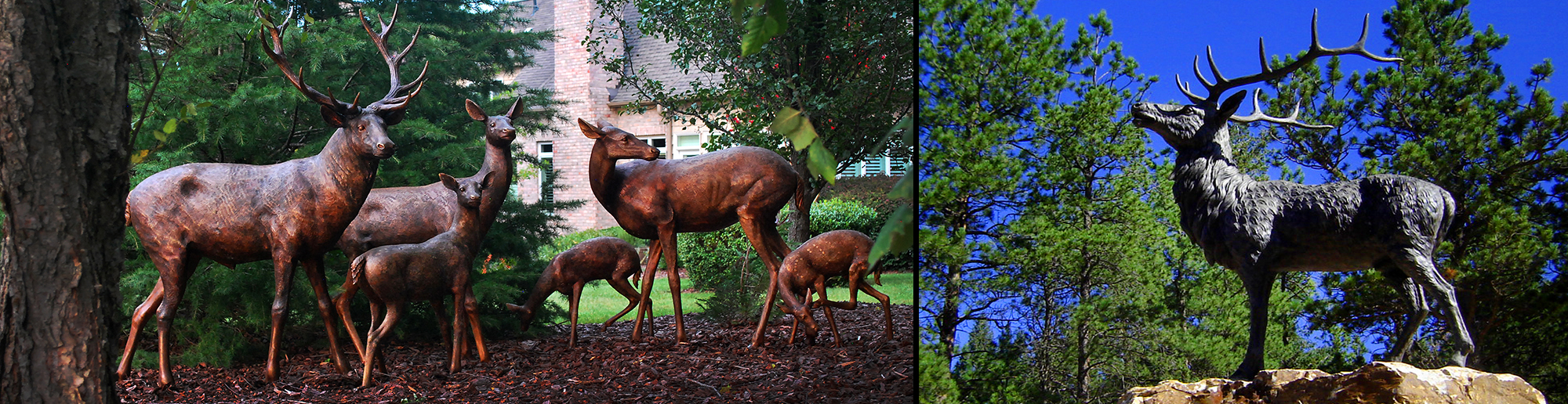 Bronze-Deer-Family-of-Six-and-Majestic-Elk-by-Metropolitan-Galleries-Inc