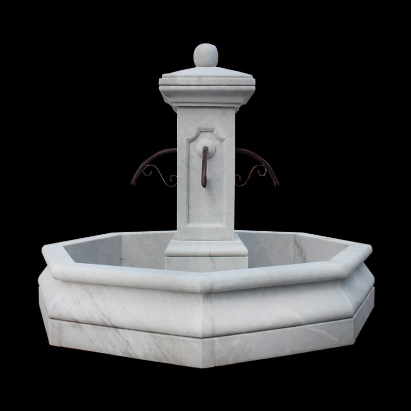 JBF1205 Marble Classic Octagonal Column Fountain in Masha White Marble by Metropolitan Galleries Inc