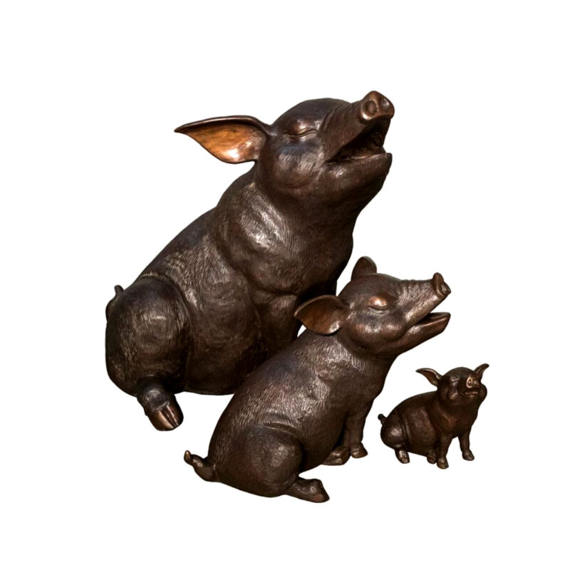 SRB049021-23-25 Bronze Pig Family Sculpture Set by Metropolitan Galleries Inc