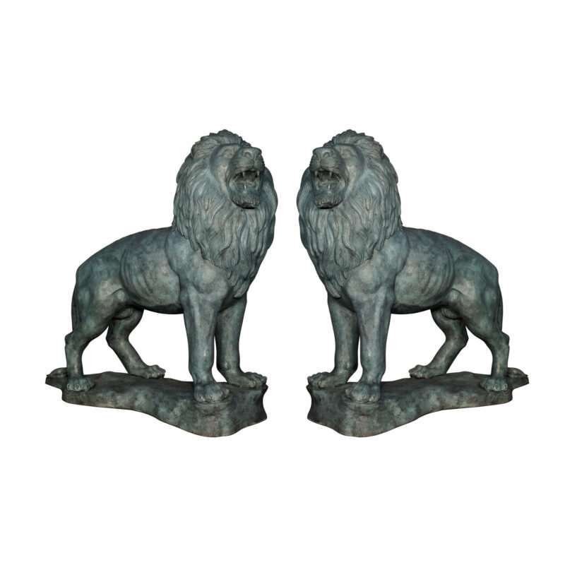 SRB096001-VG Bronze Standing Lions atop Base Sculpture Pair with Verdigris Patina by Metropolitan Galleries Inc