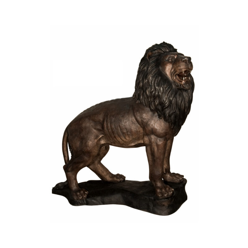 SRB096002 Bronze Standing Lion on Base Sculpture by Metropolitan Galleries Inc Right