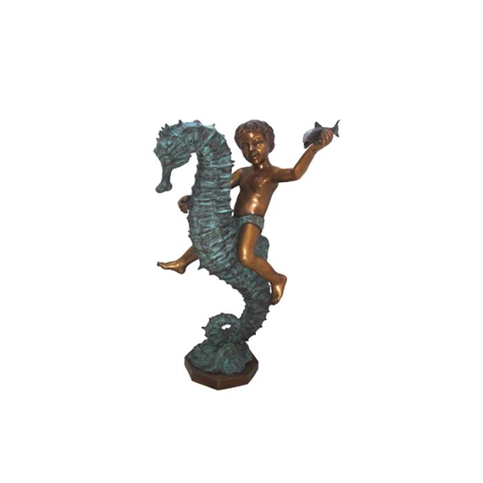 SRB706037 Bronze Boy riding Seahorse Fountain Sculpture by Metropolitan Galleries Inc