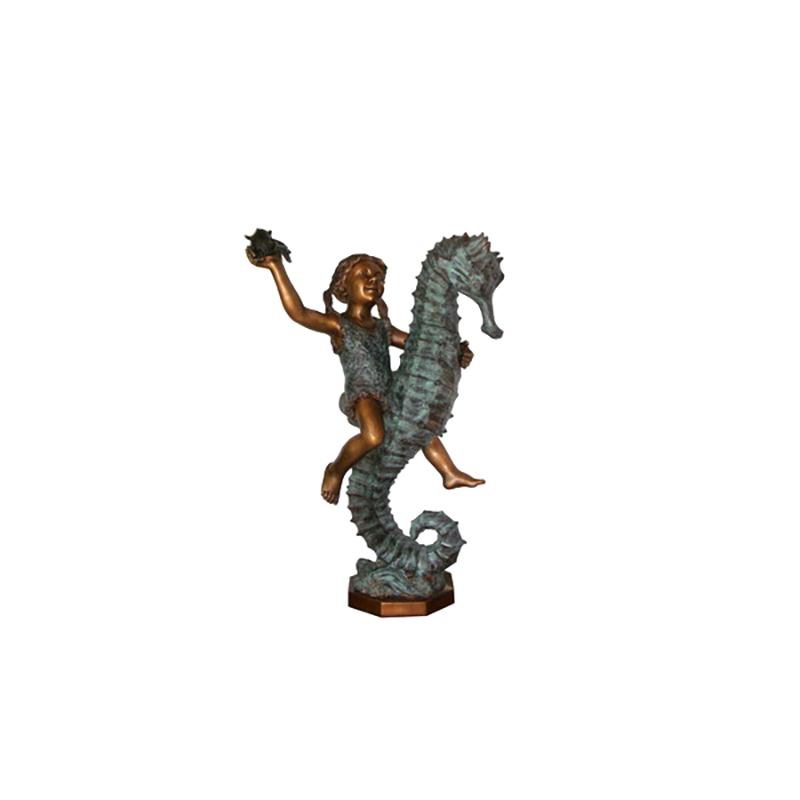 SRB706049 Bronze Girl riding Seahorse Fountain Sculpture by Metropolitan Galleries Inc