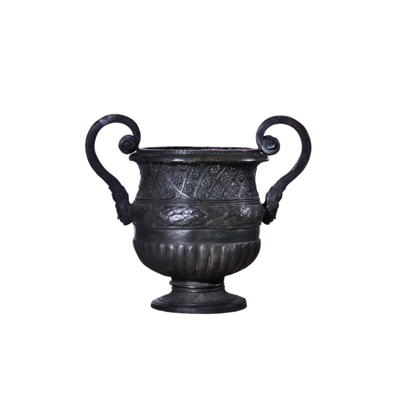 SRB991136 Bronze Classical Planter Urn with Handles Sculpture by Metropolitan Galleries Inc