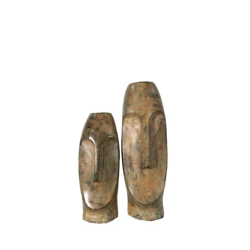 SRBC65012 Bronze Contemporary Face Vase Sculpture Pair by Metropolitan Galleries Inc