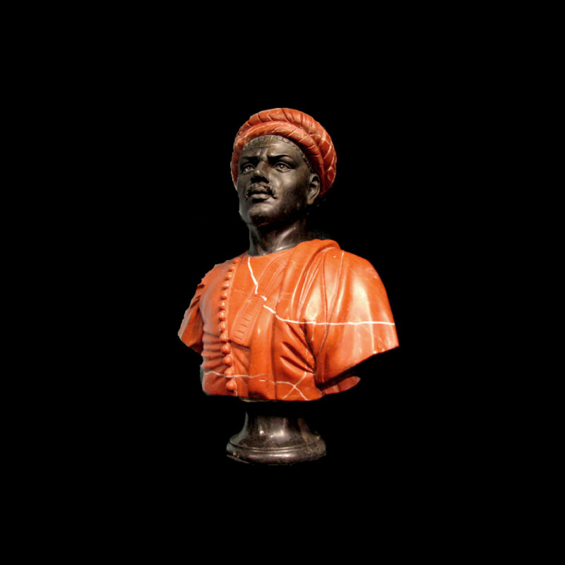 JBS222 Marble Bust of African Male Sculpture by Metropolitan Galleries Inc