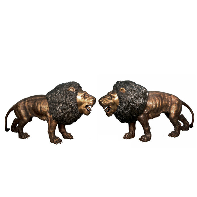 SRB056095L&R Bronze Large Standing Lions Sculpture Pair by Metropolitan Galleries Inc