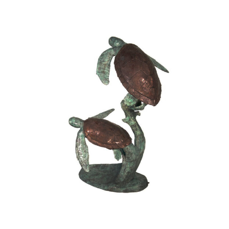 SRB075065 Bronze Two Sea Turtles Fountain Sculpture by Metropolitan Galleries Inc