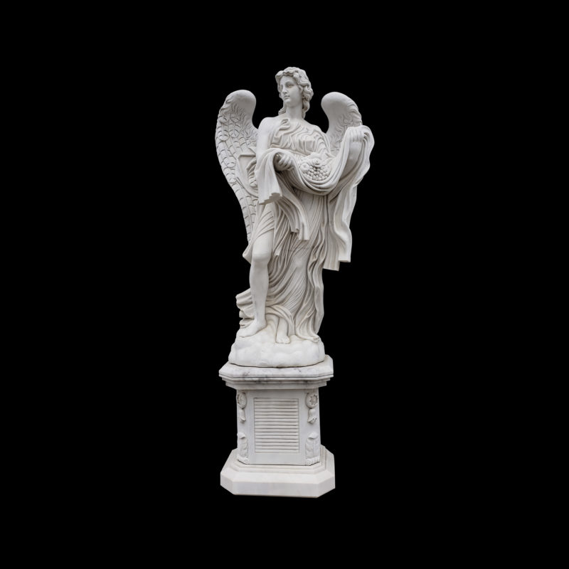 JBS360-B Marble Saint Angelos Angel atop Base Sculpture by Metropolitan Galleries Inc
