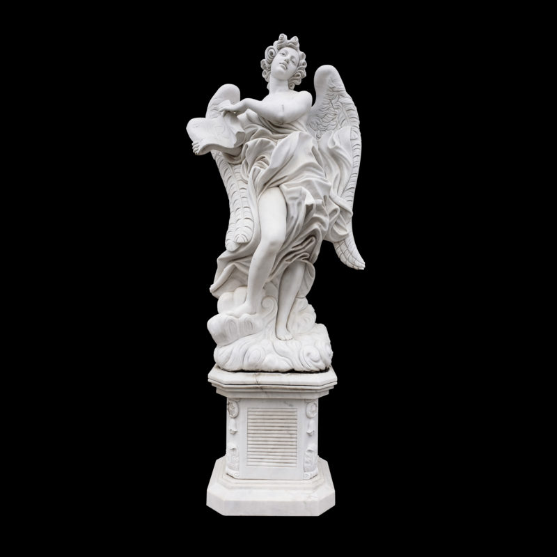 JBS360-C Marble Saint Angelos Angel atop Base Sculpture by Metropolitan Galleries Inc