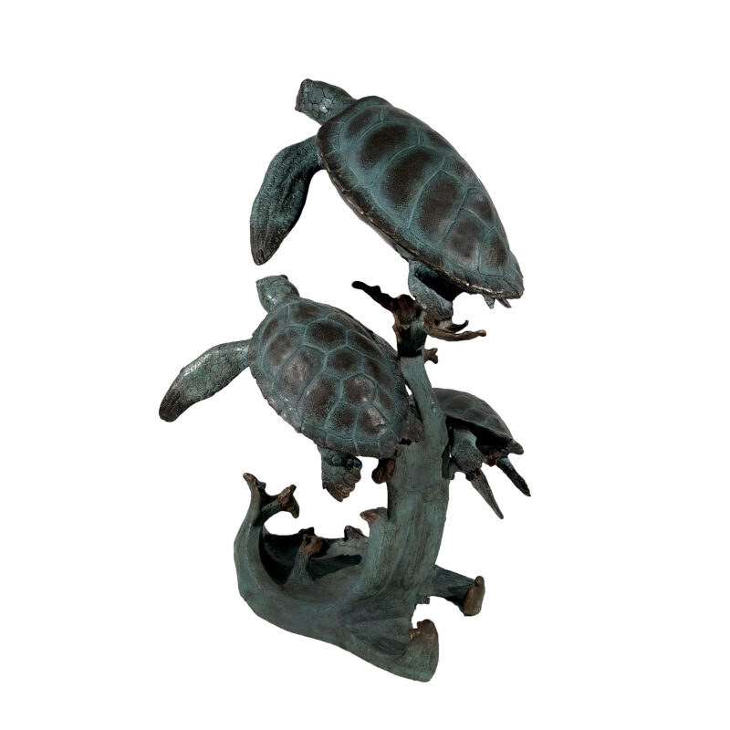 SRB075038 Bronze Large Three Sea Turtles Fountain Sculpture by Metropolitan Galleries Inc