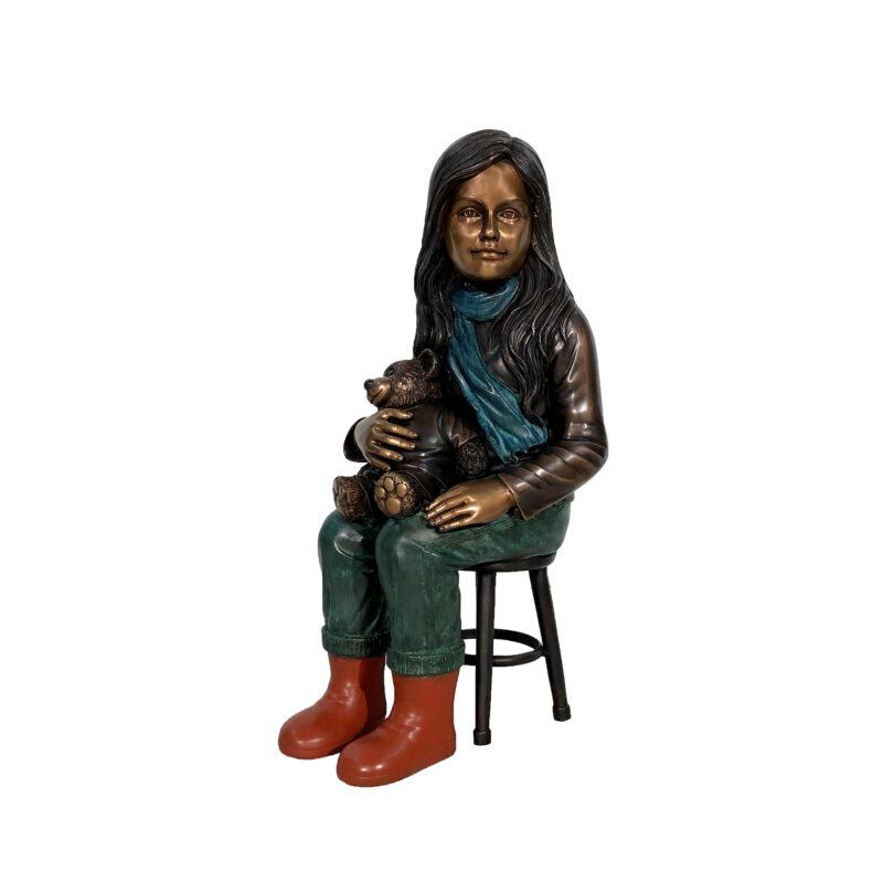 SRB41134 Bronze Girl sitting on Stool holding Teddybear Sculpture by Metropolitan Galleries Inc