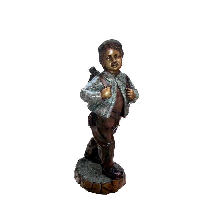 SRB703809 Bronze School Boy Sculpture by Metropolitan Galleries Inc