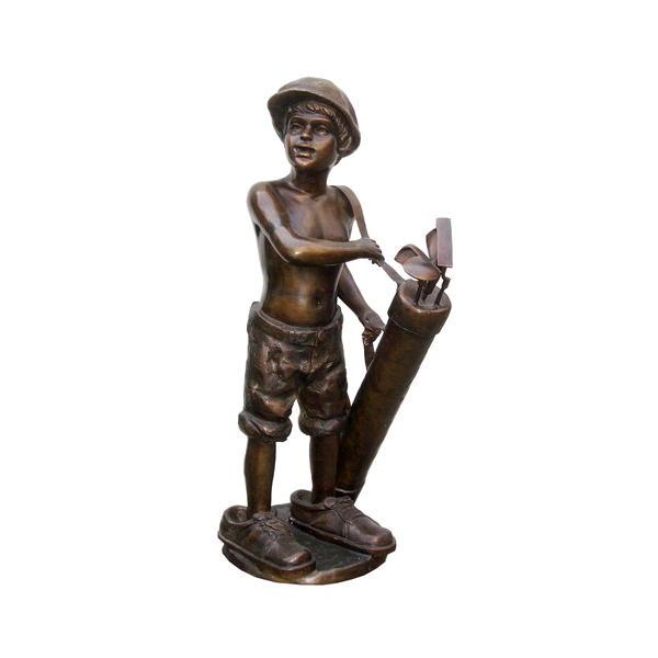 SRB704970 Bronze Little Boy Golf Caddie Sculpture by Metropolitan Galleries Inc