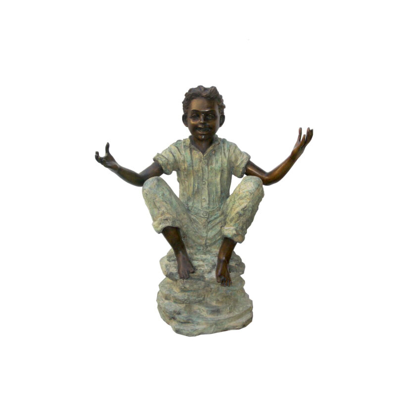 SRB705072 Bronze Sitting Boy with Arms Out Sculpture by Metropolitan Galleries Inc