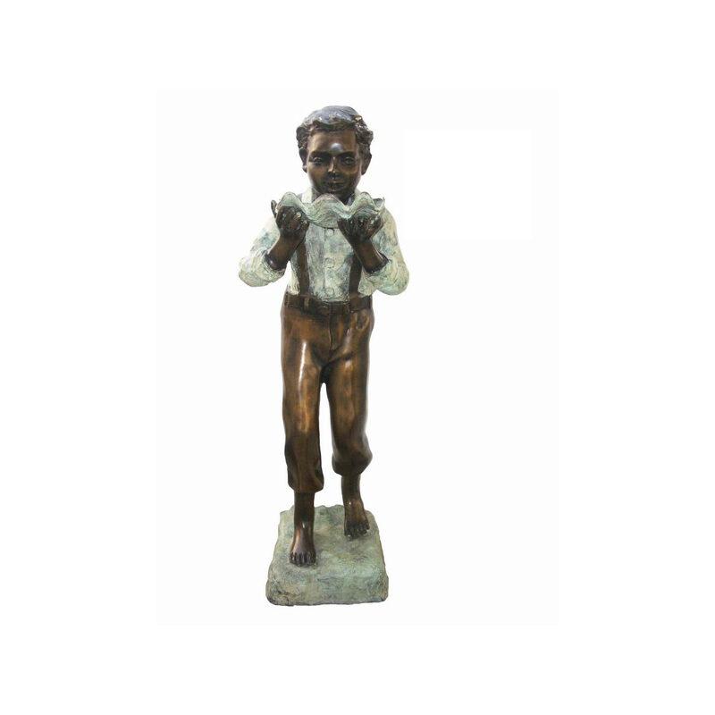 SRB705081 Bronze Boy holding Shell Sculpture by Metropolitan Galleries Inc