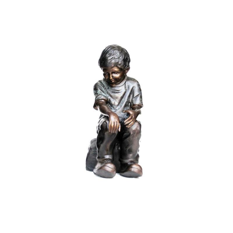 SRB705088 Bronze Boy Sitting on Rock Sculpture by Metropolitan Galleries Inc