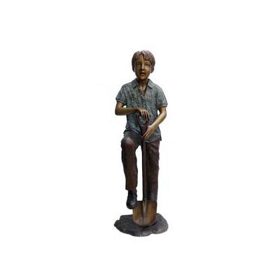 SRB705769 Bronze Gardener Boy with Shovel Sculpture by Metropolitan Galleries Inc