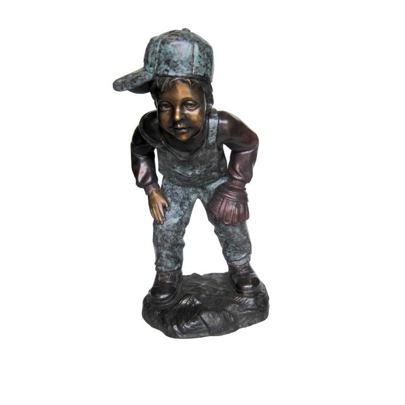 SRB707201 Bronze Little Boy Baseball Catcher Sculpture by Metropolitan Galleries Inc