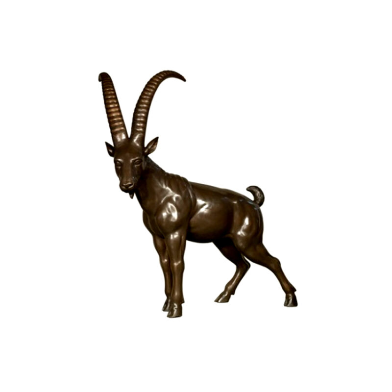 SRB082047 Bronze African Goat Sculpture by Metropolitan Galleries Inc