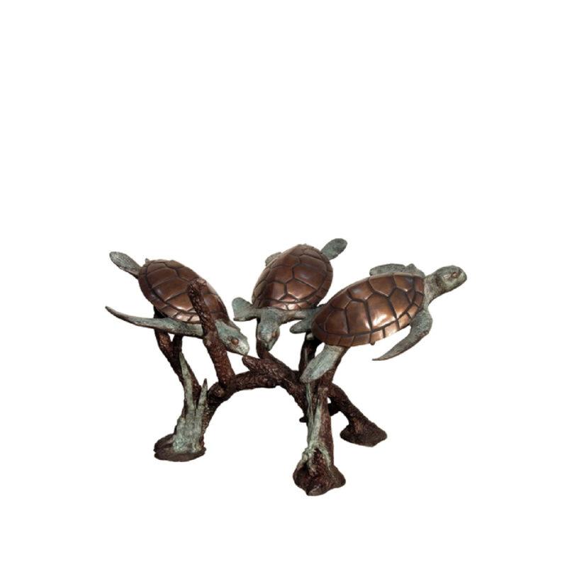 SRB094012 Bronze Three Sea Turtles Fountain Sculpture by Metropolitan Galleries Inc